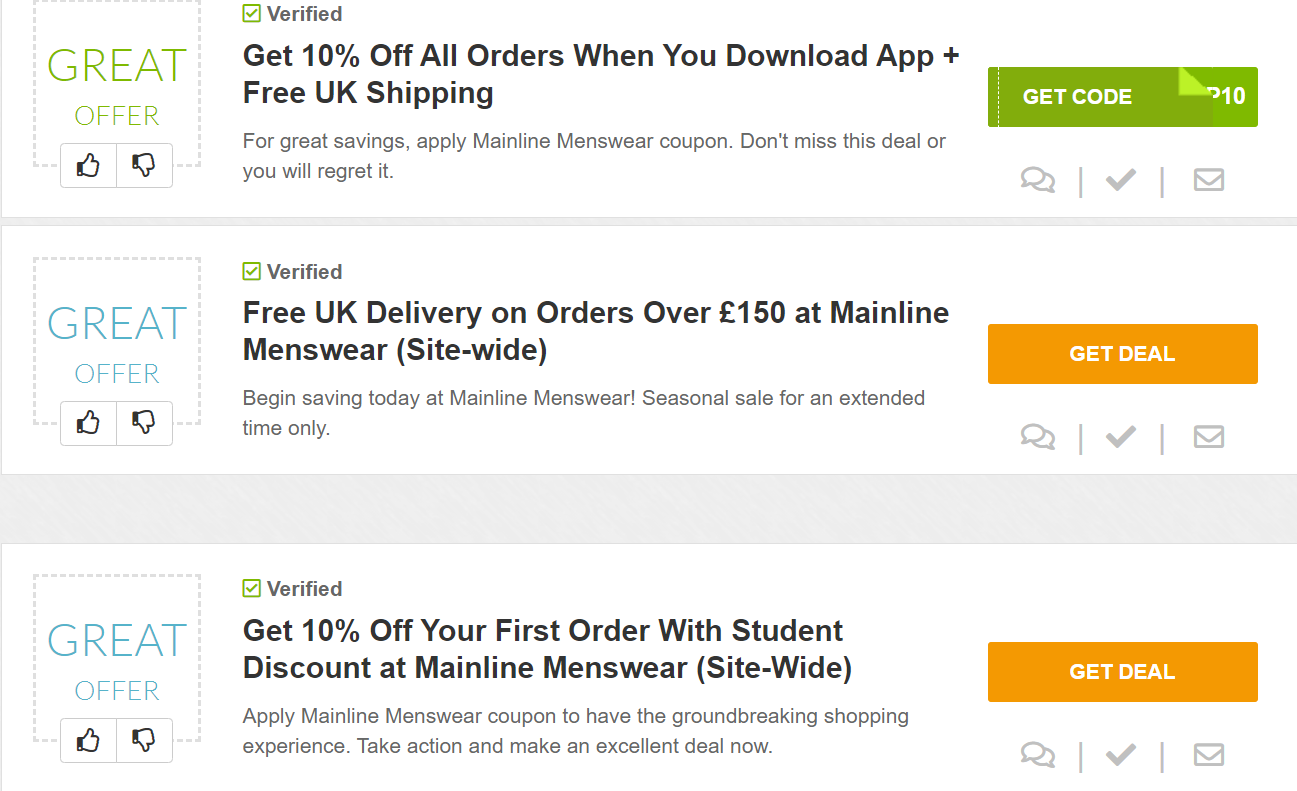 hunt for mainline menswear coupons